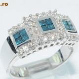 Superb inel aur alb 18K cu diamante naturale alb+bleu 0, 69CT, 46 - 56