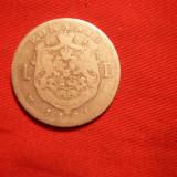 1 LEU 1881, Carol I, argint, cal. medie, d=2, 3cm. - Moneda Romania