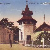 Romania, Baile Felix, carte postala circulata 1918: Izvor termal si Pavilion, Fotografie