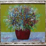 Ghiveci cu flori - semnat T.Ana - Pictor roman