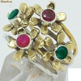_ 925 Argint Marcat, Two Tone Natural Indian Ruby; Emerald _ INEL - Marimea 8, 75 (diametru 18, 78 mm) Rubin si Smarald - Inel argint