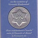 Medalie JUBILIARA 1967, Comemorarea prieteniei dintre Canada si Israel cu ocazia Centenarului Canadei