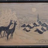 Tablou - Peisaj hibernal, tus inramat, vechi