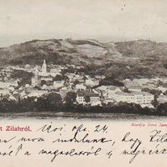 Romania, Zalau, carte postala circulata 1901: Panorama - Carte Postala Crisana pana la 1904, Fotografie