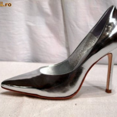 Pantofi piele, arginti - Buffalo (6866-301 MIRROR SILVER) - Pantof dama Buffalo, Marime: 37, 39, 40, 41, Culoare: Argintiu, Piele naturala