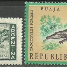 ANIMALE SALBATICE - CROCODILI, 2 timbre nestampilate C61 - Timbre straine, America Centrala si de Sud, Natura