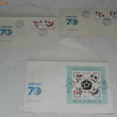 LOT TIMBRE PLICURI MEXIC 70 - prima zi a emisiunii 26.05.1970 - Plic Papetarie