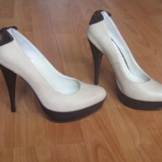 Pantofi din PIELE NATURALA nude (crem/bej) cu fundita - Pantof dama, Marime: 40