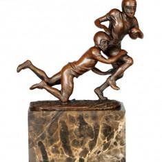 FOTBALISTI- STATUETA DIN BRONZ PE SOCLU DE MARMURA - Sculptura