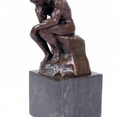 Sculptura, Abstract - GANDITORUL RODIN - STATUETA DIN BRONZ PE SOCLU DE MARMURA