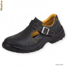 Sandale de protecţie cu bombeu metalic şi lamelă antiperforaţie S1-P 39 Piele naturala NOI - Sandale barbati, Negru