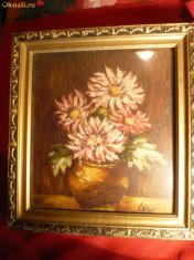 Tablou Ulei pe carton ( sau lemn) -Ghiveci cu Flori- semnat indescifrabil