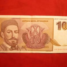 Bancnota 10 Dinari 1994 Yugoslavia , cal.medie