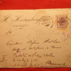 Plic circ.Focsani 15 Bani Spic de Grau 1907, violet