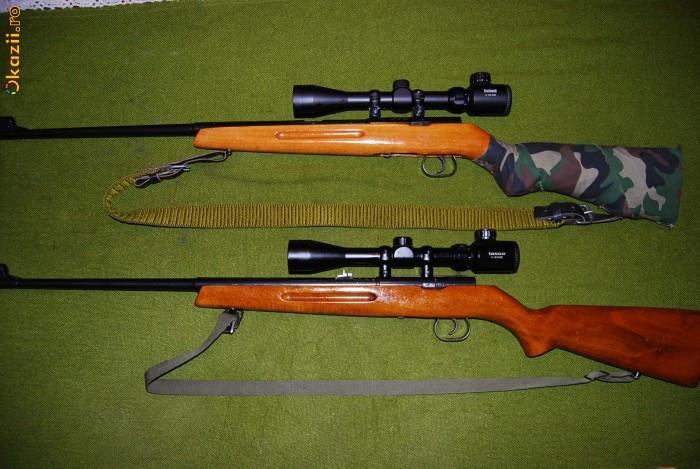 Vand doua arme Geco Cugir, arme de tir cu glont, calibrele 5.65 x 26 (. 22 WMR )   si .22 LR cu lunete noi, Bushnell si Tasco foto mare