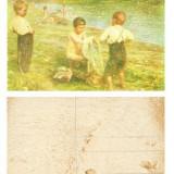 ILUSTRATA VECHE NR. 21 GERMANIA, COPII LA SCALDAT- IMPRIMATA IN RELIEF **, Necirculata