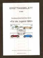 Timbre Germania 1982 FDC. (ETB) - Masini de epoca