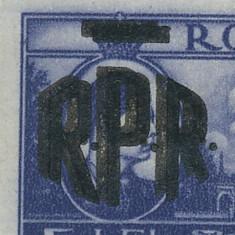 Timbre Romania - RFL 1948 ROMANIA timbru Mihai I Vederi 5 Lei - eroare cu sursarj RPR dublu neuzata