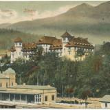 Carti Postale Romania pana la 1904 - CFL 1906 ilustrata Sinaia - Hotel Caraiman si gara