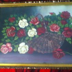 Tablou, Realism - Pictura-cos cu flori-nesemnat