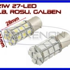 BEC AUTO LED P21W (BA15S, 1156) 27 SMD - DRL MARSARIER SEMNALIZARE POZITIE FRANA - Led auto ZDM, Universal
