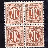 Timbre Germania 1945/*MI.6 = ZONA ANGLO - AMERICANA Bloc 4 Nestampilate