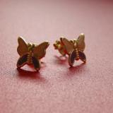 Cercei copii din argint 925 placati cu aur in forma de fluturasi cu aripioare roz cu violet - Cercei argint