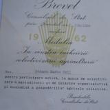 "Brevet RPR 1962 Medalia ""In cinstea incheierii colectivizarii agriculturii"" (Bacana Marin Emil) - Ordin/ Decoratie"