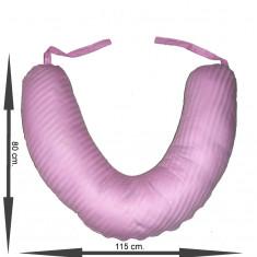 Perna pentru gravida si bebelusi (Perna Semiluna) Roza - Centura reglabila postnatala