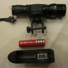 Lanterna far bicicleta cu zoom si led cree R4 -500 mw cu acumulator +suport fixare ghidon