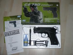 Pistol Airsoft  -C.Z.- 75 D-COMPACT - Bi Propulsie -2  Incarcatoare Dedicate-Co2 si Green Gas -2 incarcatoare !!! foto