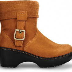 Cizme dama - Cizme piele intoarsa de iarna NOI CROCS ORIGINALI femei, fara eticheta - model Crocs Cobbler Ankle Boot culoare chesnut/black, marimea W7(37.5)