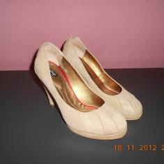 Pantofi gala cu platforma - Pantof dama, Marime: 37, Culoare: Auriu, Auriu