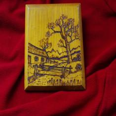 Tablou lemn - pirogravura - peisat pirogravat