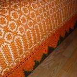 tesatura textila - Cuvertura lana tesuta la razboi veche de 50 ani zona Dobrogea