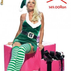 MEGA REDUCERE ( 7 zile) Sexy Miss Santa Costume for Adult [in stoc], Marime: Marime universala, Culoare: Verde