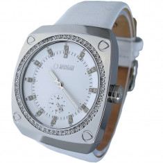 Ceas dama - Ceas Morgan Ladies White Dial White Leather Strap Watch