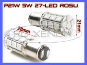 BEC AUTO LED LEDURI P21W 5W (BAY15D) - DUBLU FILAMENT - 27 SMD - STOP, POZITIE, CEATA, FRANA - CULOARE ROSU foto