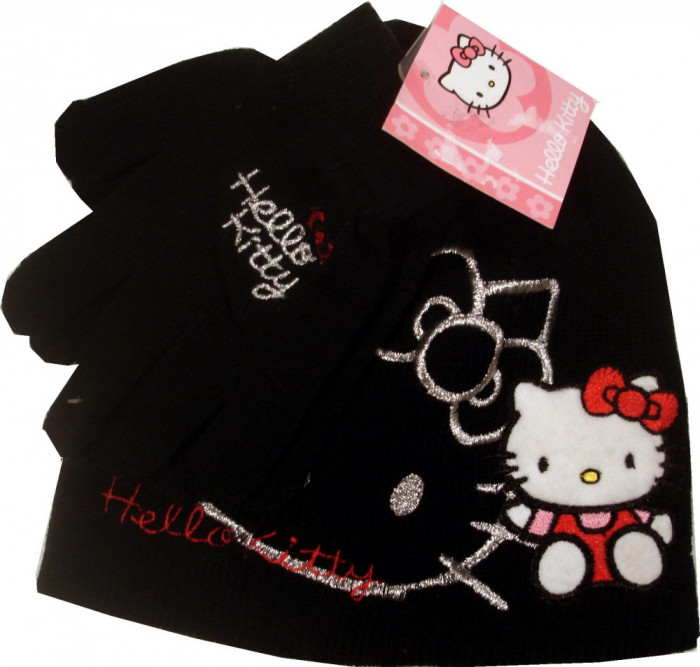 Set caciula+manusi Hello Kitty foto mare