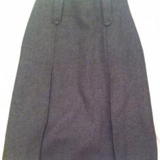 Fusta Zara Basic - marime 36, Culoare: Gri, Midi, Forma A, Gri