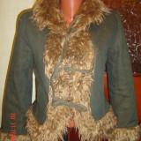 jacheta/palton dama blugi cambrata cu blanita-marimea 34(36)