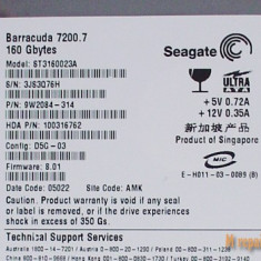Hard Disk Seagate, 100-199 GB, Rotatii: 7200, IDE, 8 MB - Seagate HDD ST3160023A 160GB IDE