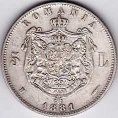Monede Romania - Romania, 5 LEI 1881, argint, DOMNUL, de colectie