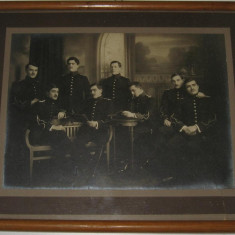 Poza militara 20 (ofiteri romani in tinuta de gala, perioada Primul razboi mondial) dimensiuni mari (24x32 cm) - Fotografie veche