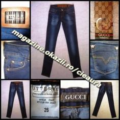 BLUGI firma brand GUCCI BLUE made in ITALY JEANS PRESPALATI DAMA CREION SKINNY PANA MULATI TALIE JOASA COLECTIE NOUA JEANSI FEMEI 100% BUMBAC - Blugi dama Gucci, Marime: 26, 27, 30, Culoare: Bleumarin, Lungi, Normal