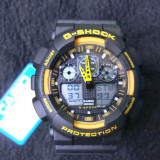 CASIO G-SHOCK GA-100-1A4ER BLACK&YELLOW DESIGN-MADE IN JAPAN-MANUAL-POZE REALE