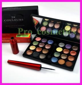 Trusa machiaj profesionala 24 culori Dior 03 farduri mate sidefate pigmentate rezistente + CADOU Eyeliner MAC Waterproof tus de ochi negru foto