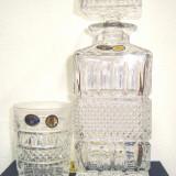 Cristal BOHEMIA set 6 pahare cu sticla  whisky   model classic- old fashion, 240 ml
