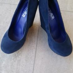 Platforme albastre - Pantof dama, Marime: 37, Culoare: Albastru