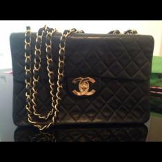 Geanta Dama Chanel, Geanta de umar, Negru, Piele, Mare - Geanta Chanel Jumbo vintage